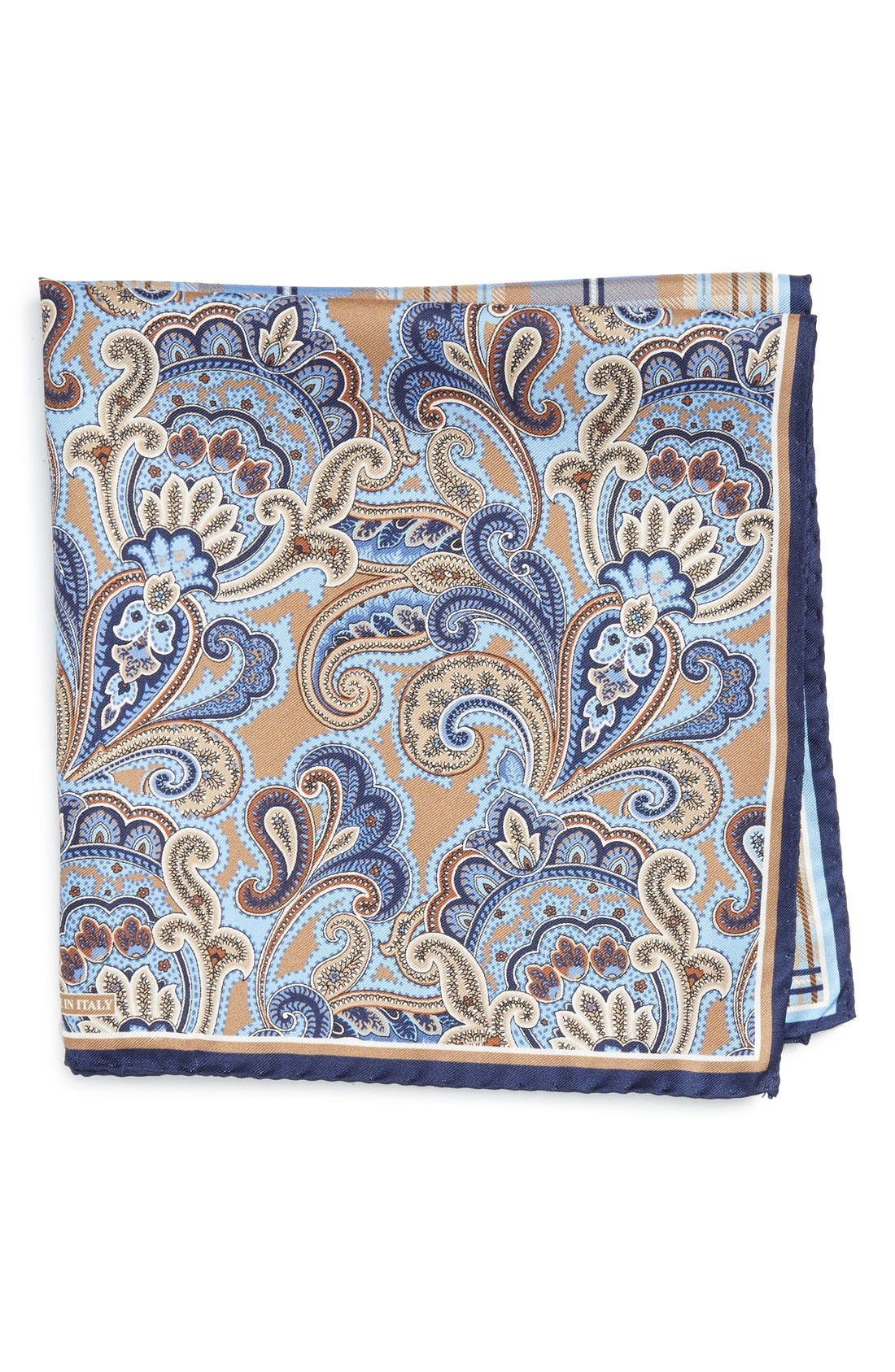 'Three Panel' Silk Pocket Square,                         Main,                         color, Brown/Blue