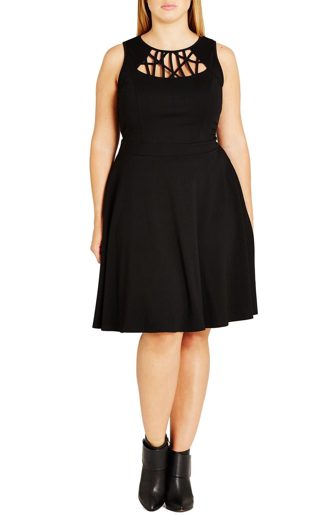 City Chic 'Crosshatch' Fit & Flare Dress (Plus Size)