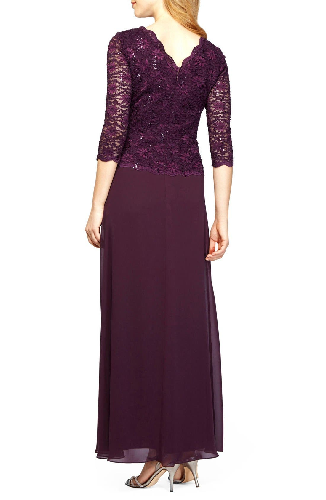 Sequin Lace & Chiffon Gown,                             Alternate thumbnail 2, color,                             Deep Plum