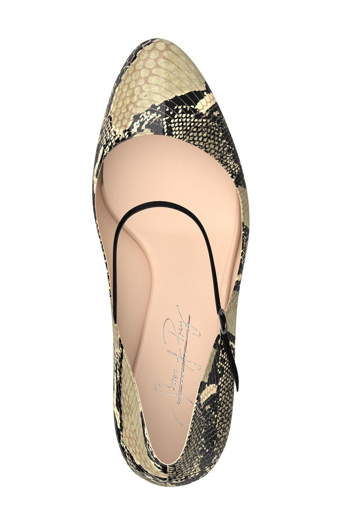 Mary Jane Pump,                             Alternate thumbnail 3, color,                             Beige Snake Print Leather