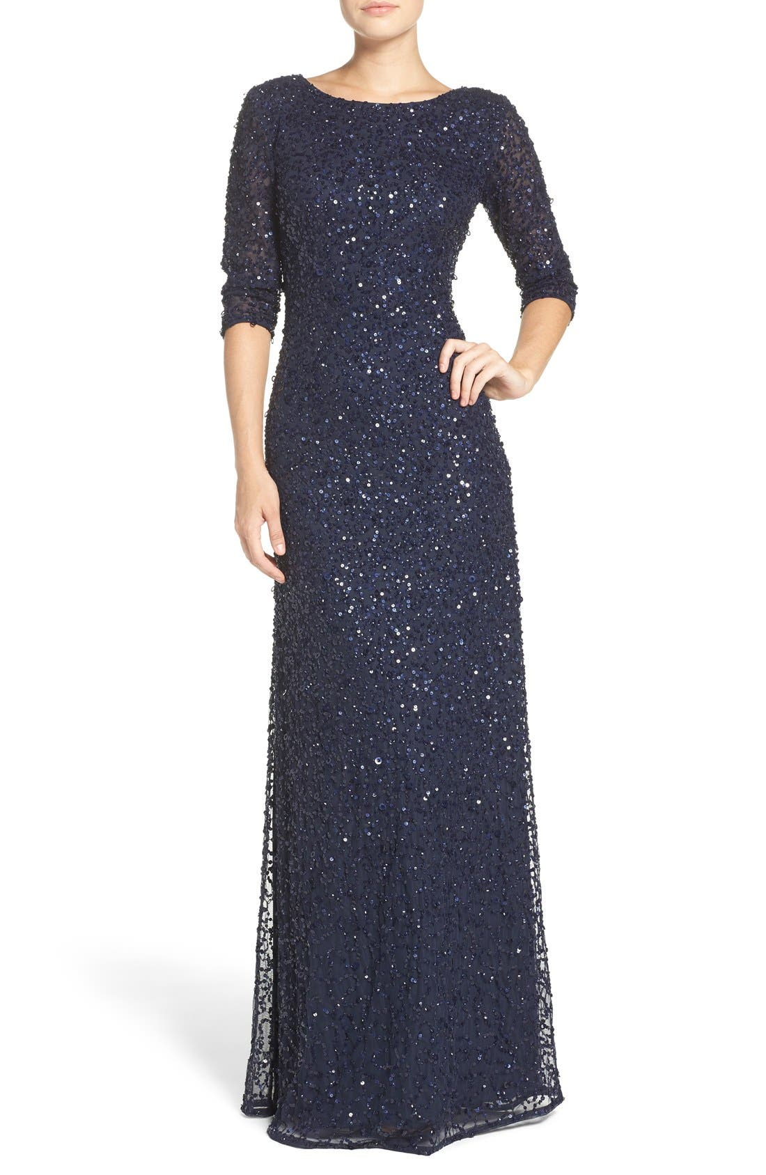 Sequin Mesh Gown,                             Alternate thumbnail 4, color,                             Navy