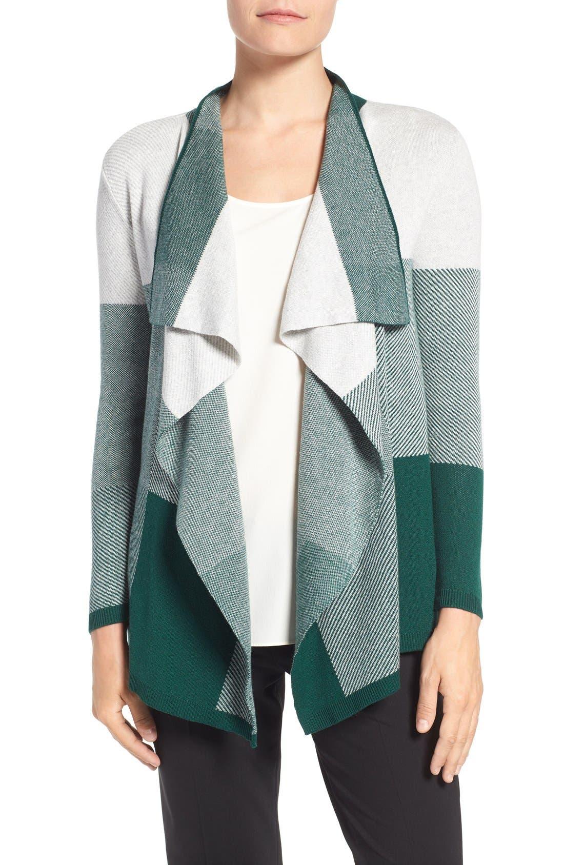 Alternate Image 1 Selected - Chaus Colorblock Jacquard Drape Front Cardigan