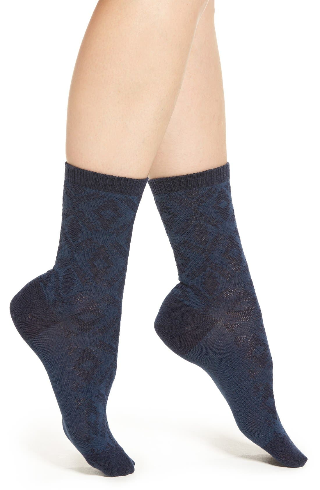 'Diamond River' Anklet Socks,                         Main,                         color, Navy