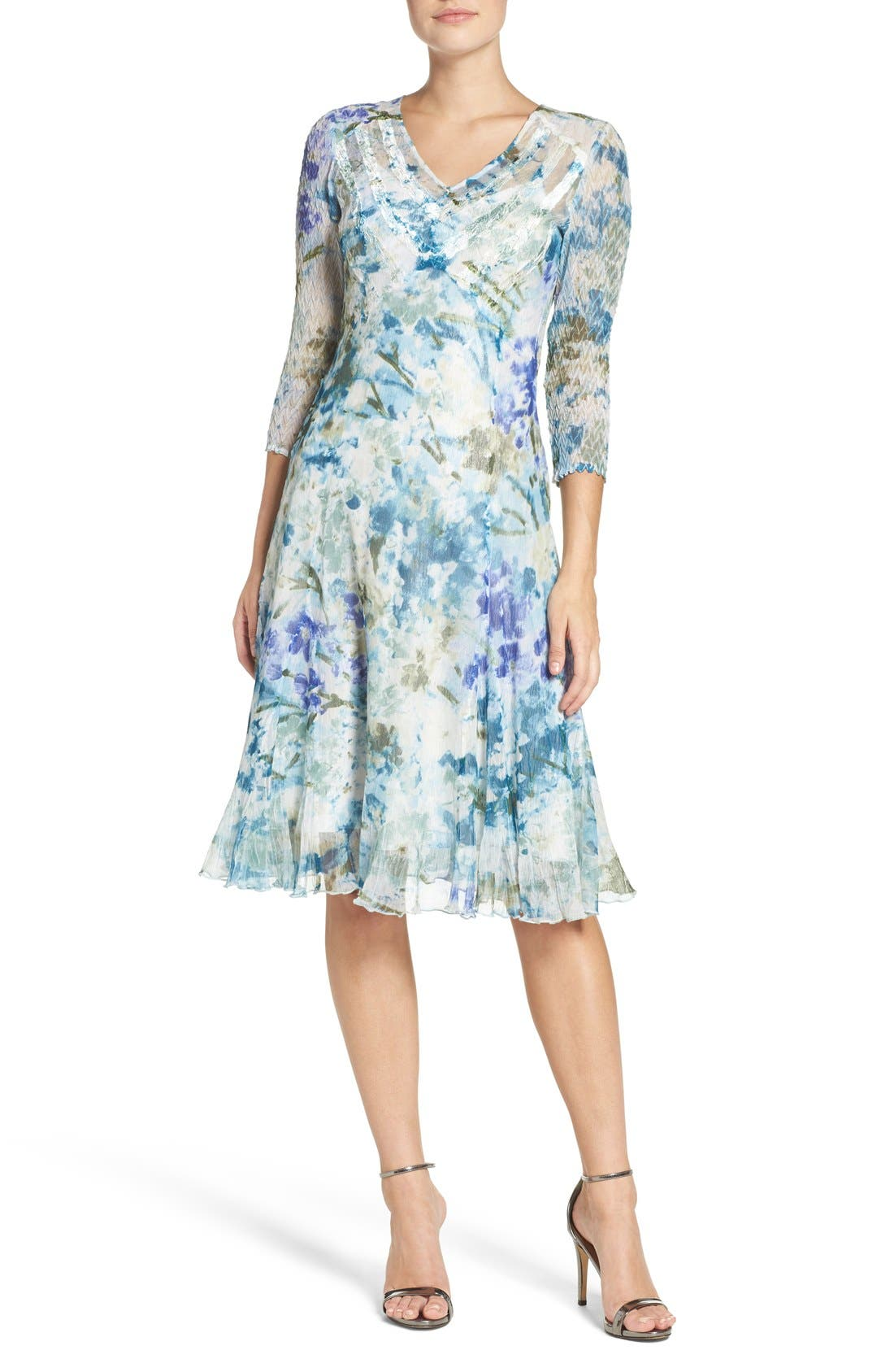 Chiffon A-Line Dress,                             Alternate thumbnail 4, color,                             Monet Dream