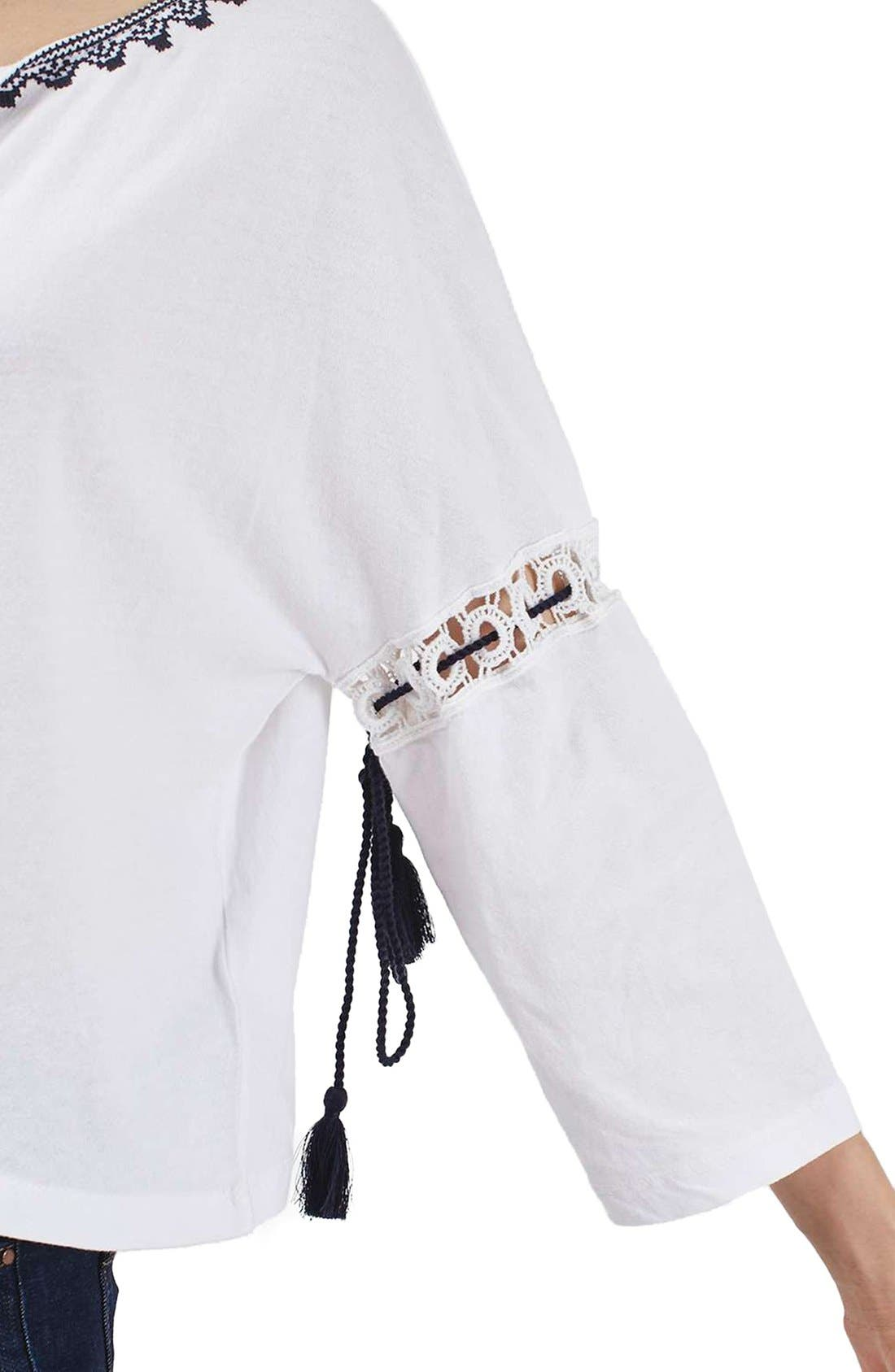 Alternate Image 6  - Topshop Embroidered Tassel Peasant Top