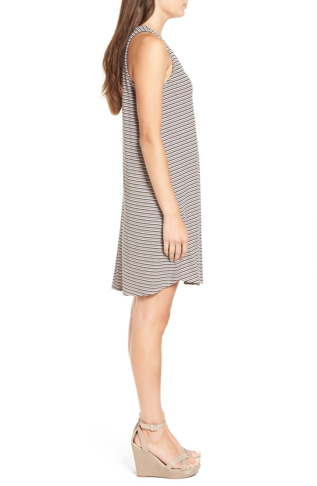 Alternate Image 3  - dee elle Stripe Rib Knit Swing Dress