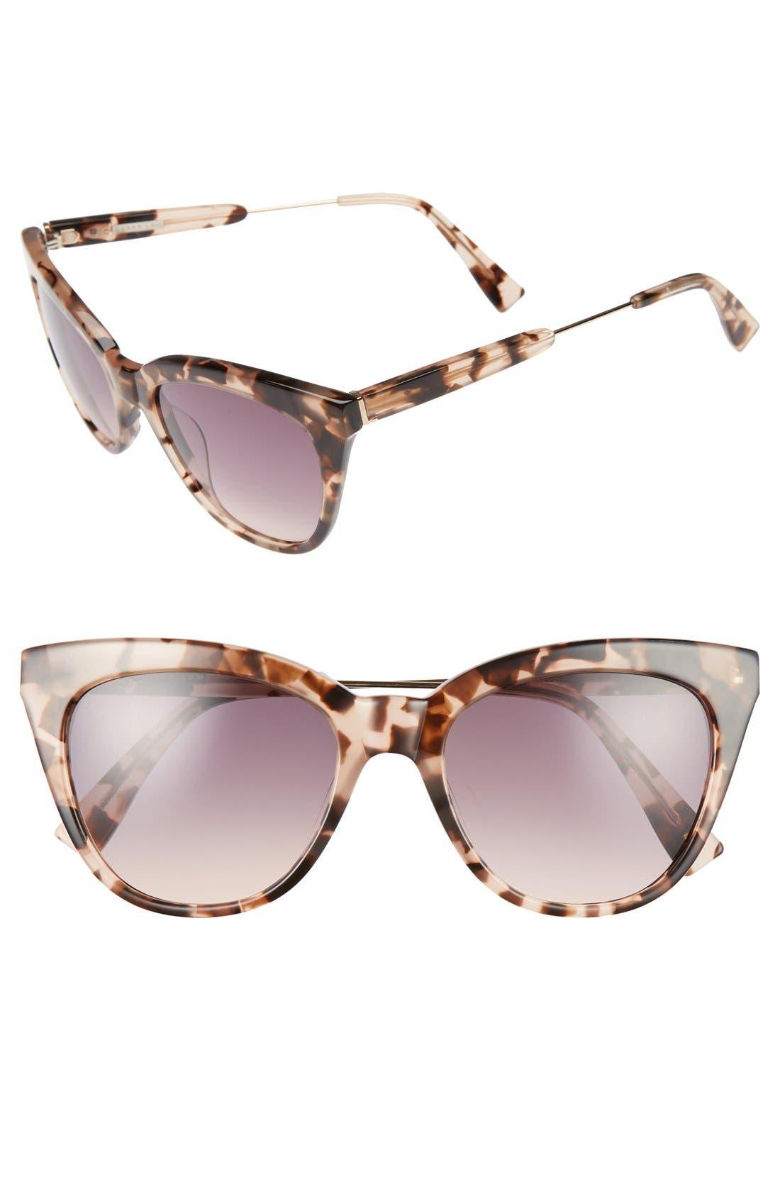 'Lenox' 53mm Cat Eye Sunglasses,                             Main thumbnail 1, color,                             Peach Marble