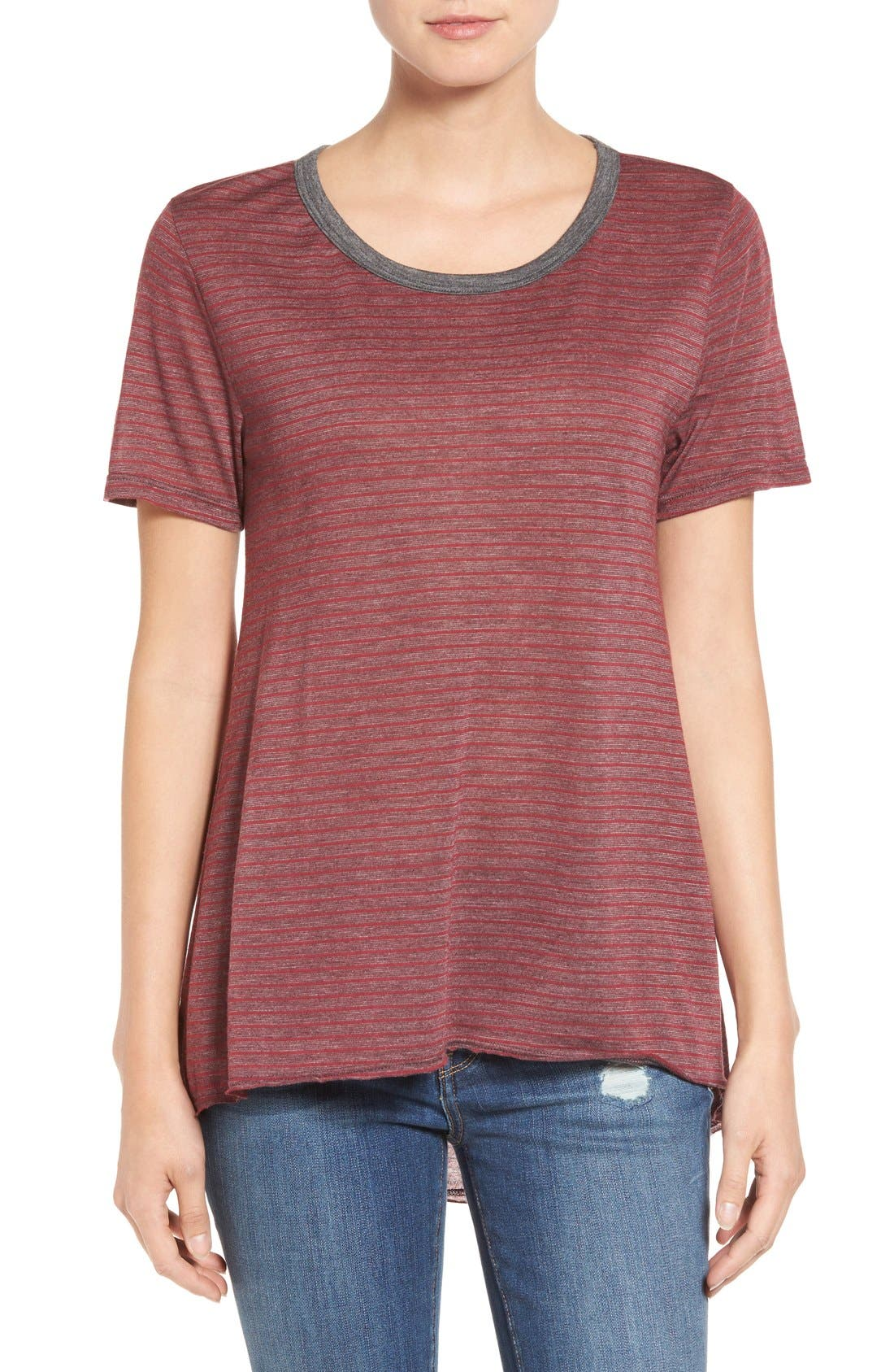 Alternate Image 1 Selected - Stem striped High/Low Tee