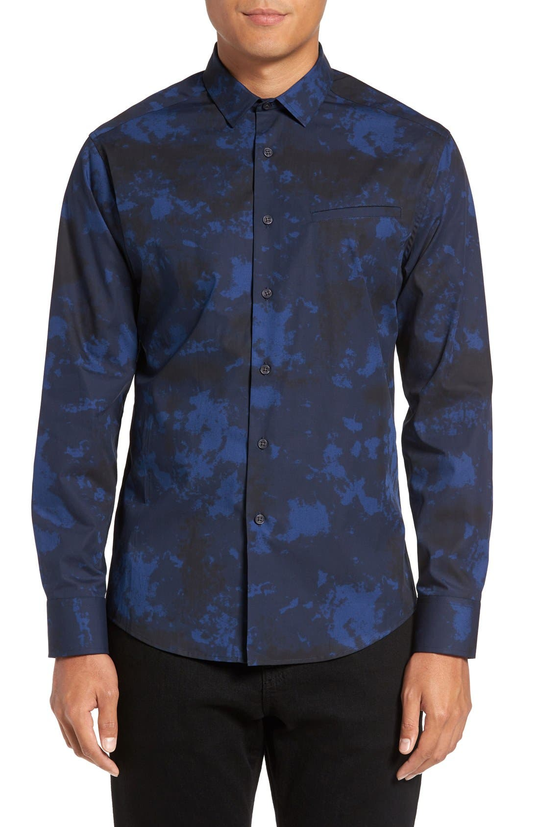 Slim Fit Sport Shirt,                             Main thumbnail 1, color,                             Navy/ Black Dyed Print