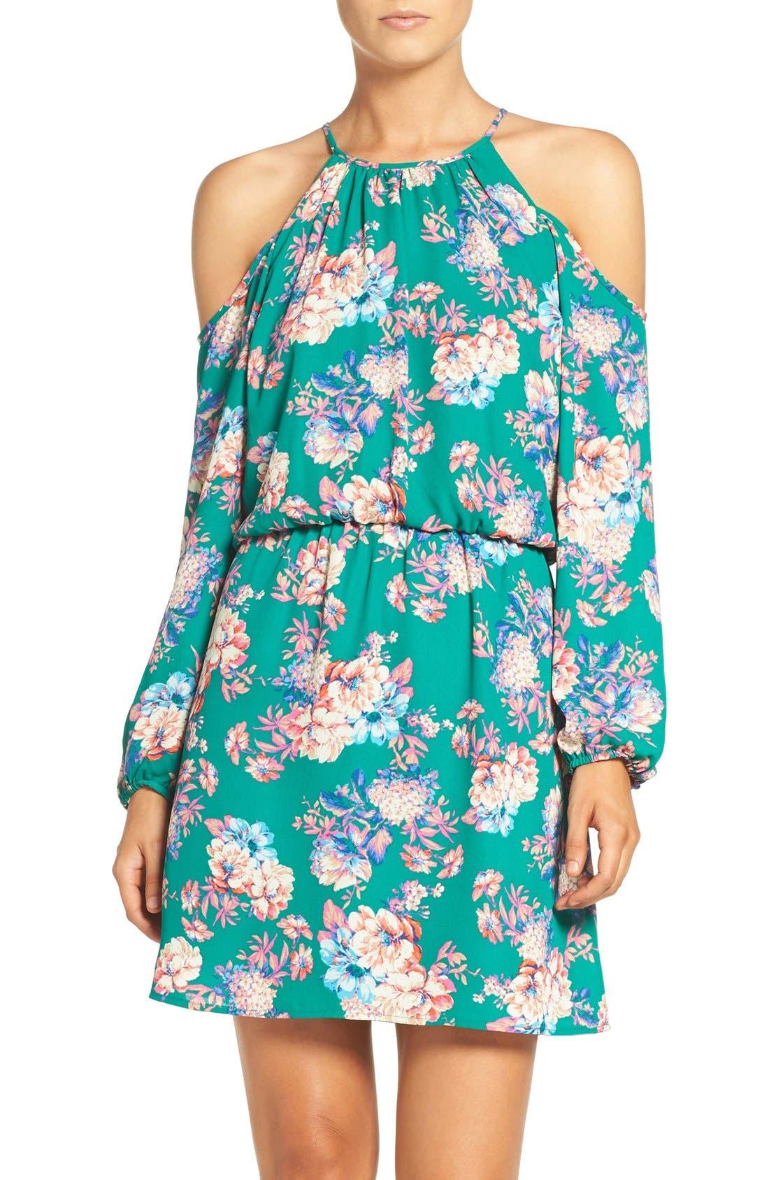 CHARLES HENRY Cold Shoulder Woven Blouson Dress