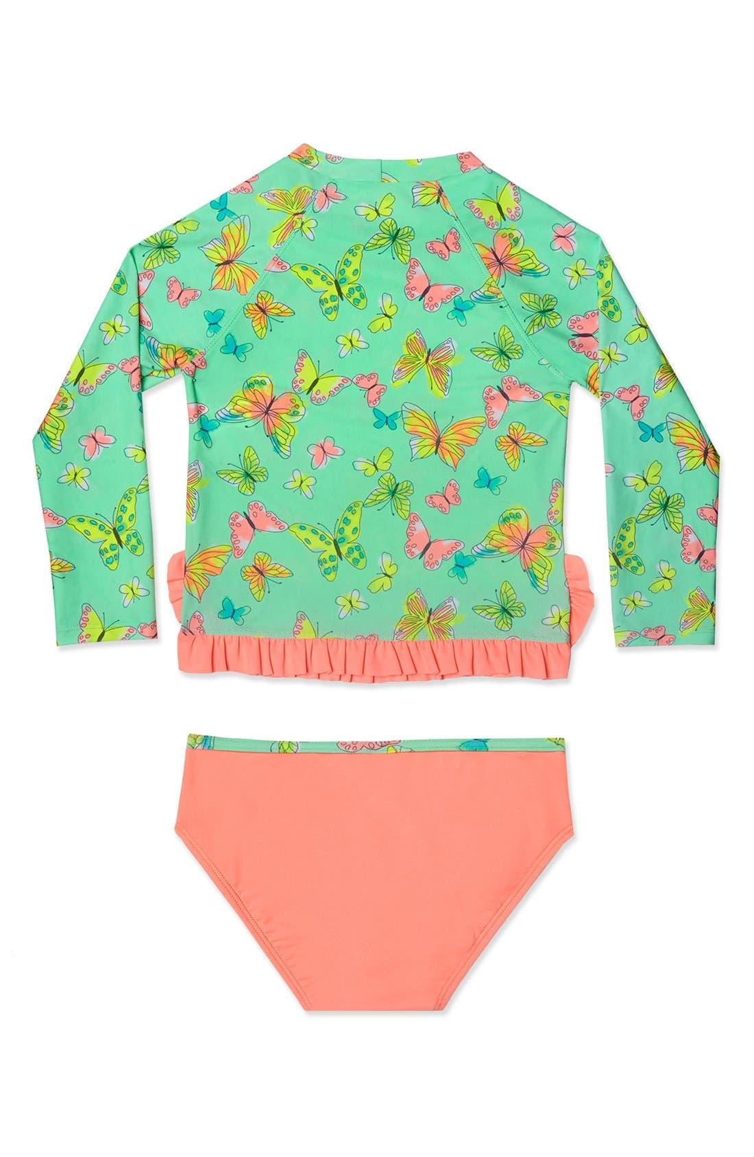 'Butterfly' Two-Piece Rashguard Swimsuit,                             Alternate thumbnail 2, color,                             Mint