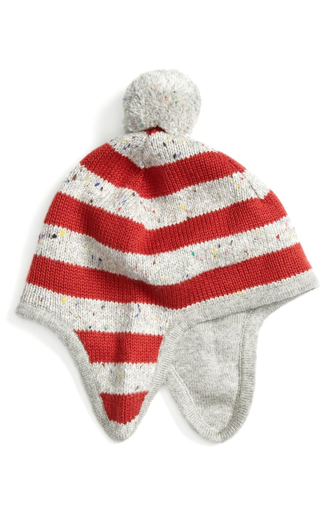 Stripe Earflap Hat,                             Main thumbnail 1, color,                             Grey Alloy- Red Stripe