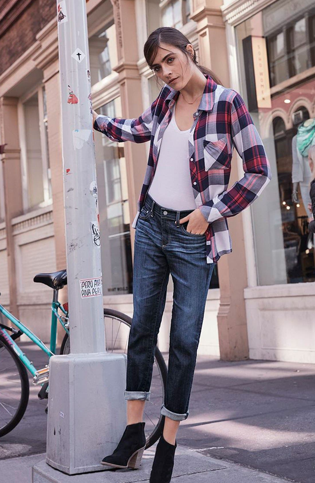 Rails Shirt, PAIGE Tee & AG Jeans Outfit with Accessories