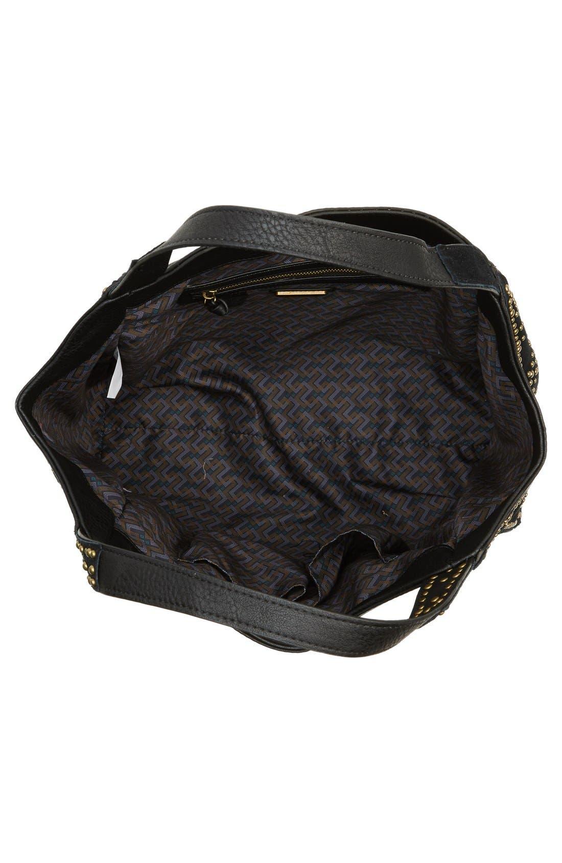'Jlora' Studded Hobo Bag,                             Alternate thumbnail 3, color,                             Black