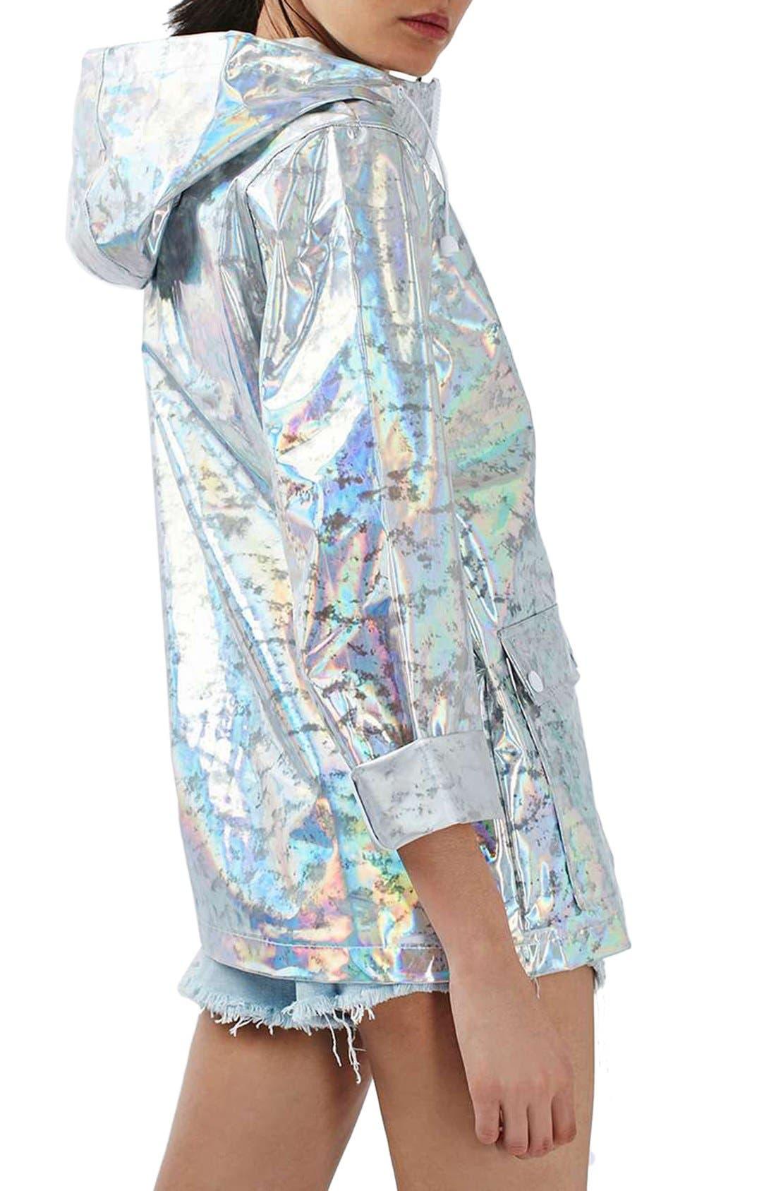 Alternate Image 2  - Topshop Holographic Rain Jacket (Regular & Petite)