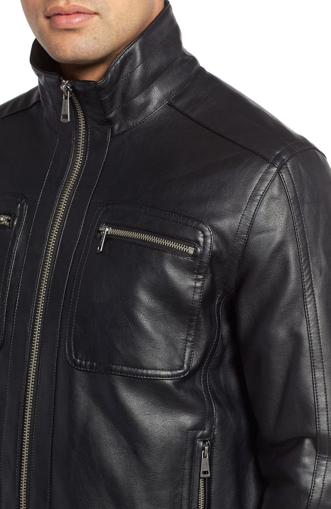 Faux Leather Zip Jacket,                             Alternate thumbnail 4, color,                             Black