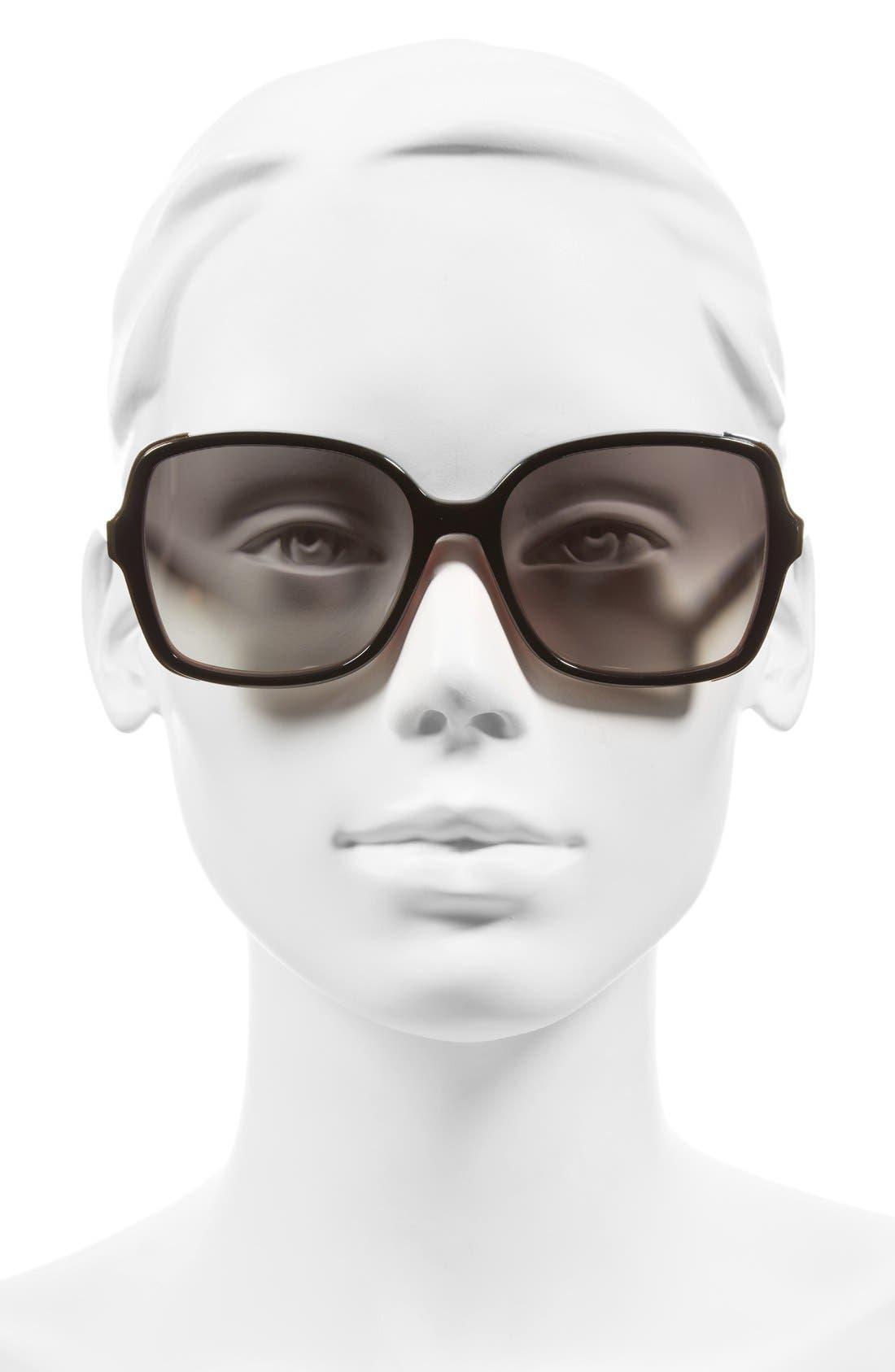 'The Alice' 57mm Sunglasses,                             Alternate thumbnail 2, color,                             Black/ Violet