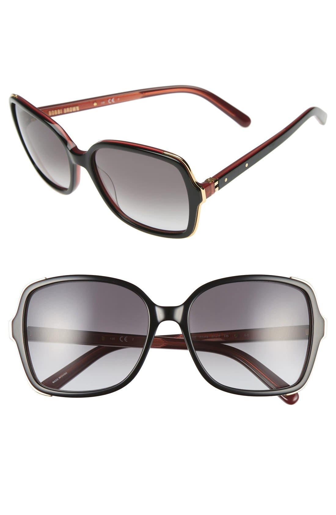 'The Alice' 57mm Sunglasses,                         Main,                         color, Black/ Violet