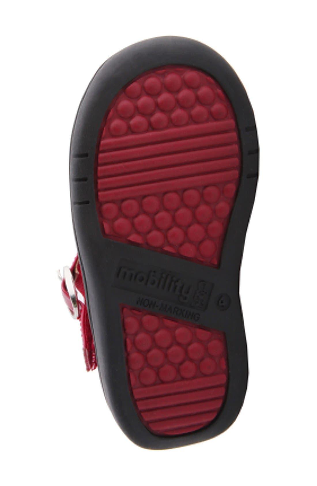 Nina 'Cruz' T-Strap Flat,                             Alternate thumbnail 4, color,                             Red Faux Patent