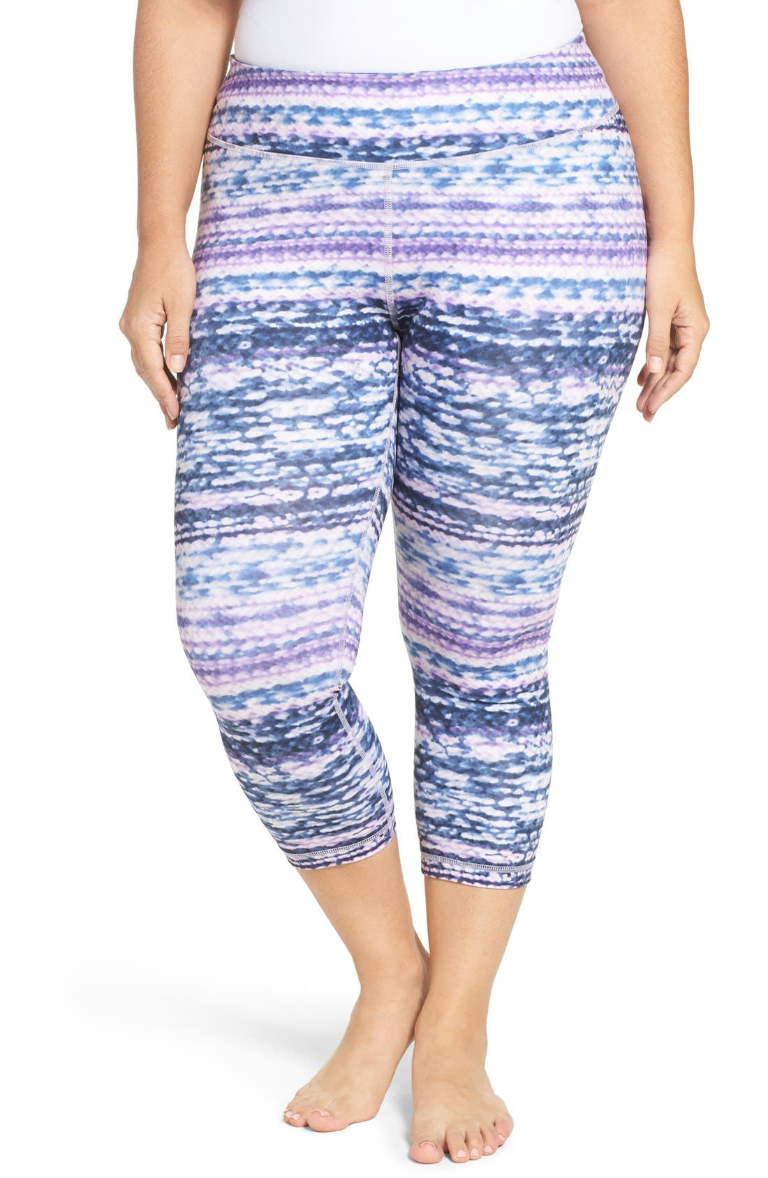 Alternate Image 1 Selected - Zella Print Crop Leggings (Plus Size)