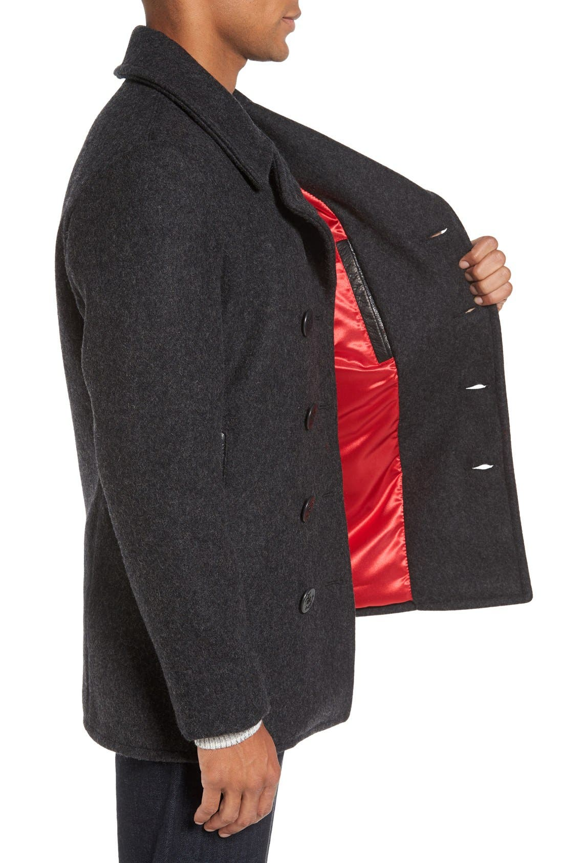 Alternate Image 3  - Schott NYC Embroidered Wool Blend Peacoat