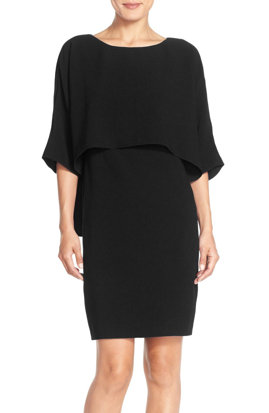Draped Blouson Sheath Dress,                         Main,                         color, Black