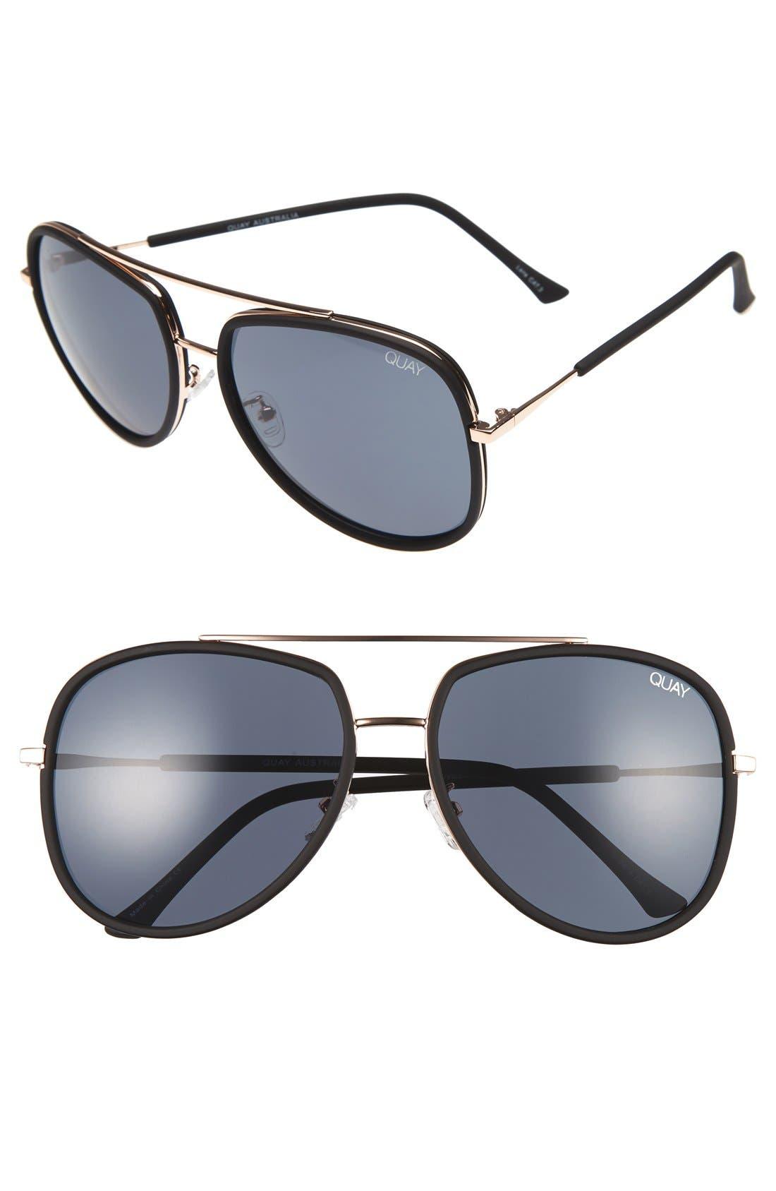 'Needing Fame' 65mm Aviator Sunglasses,                         Main,                         color, Black/ Smoke