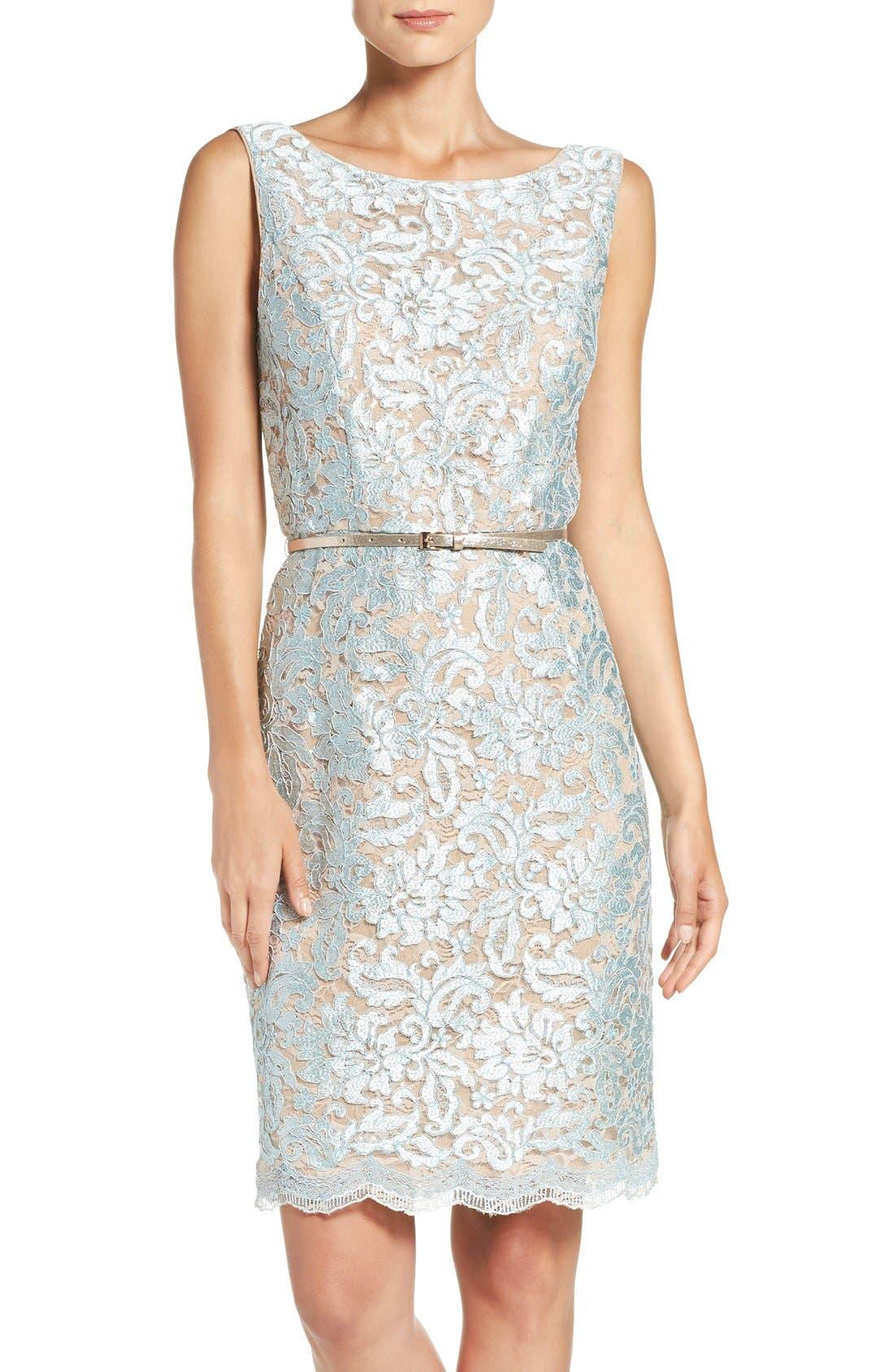 Ellen Tracy Sequin Lace Sheath Dress