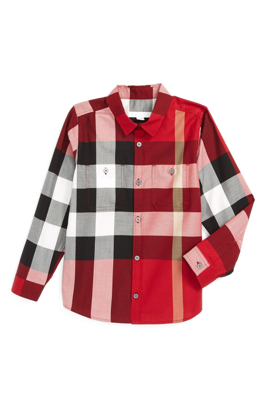 Alternate Image 1 Selected - Burberry 'Mini Camber' Check Long Sleeve Shirt (Toddler Boys, Little Boys & Big Boys)