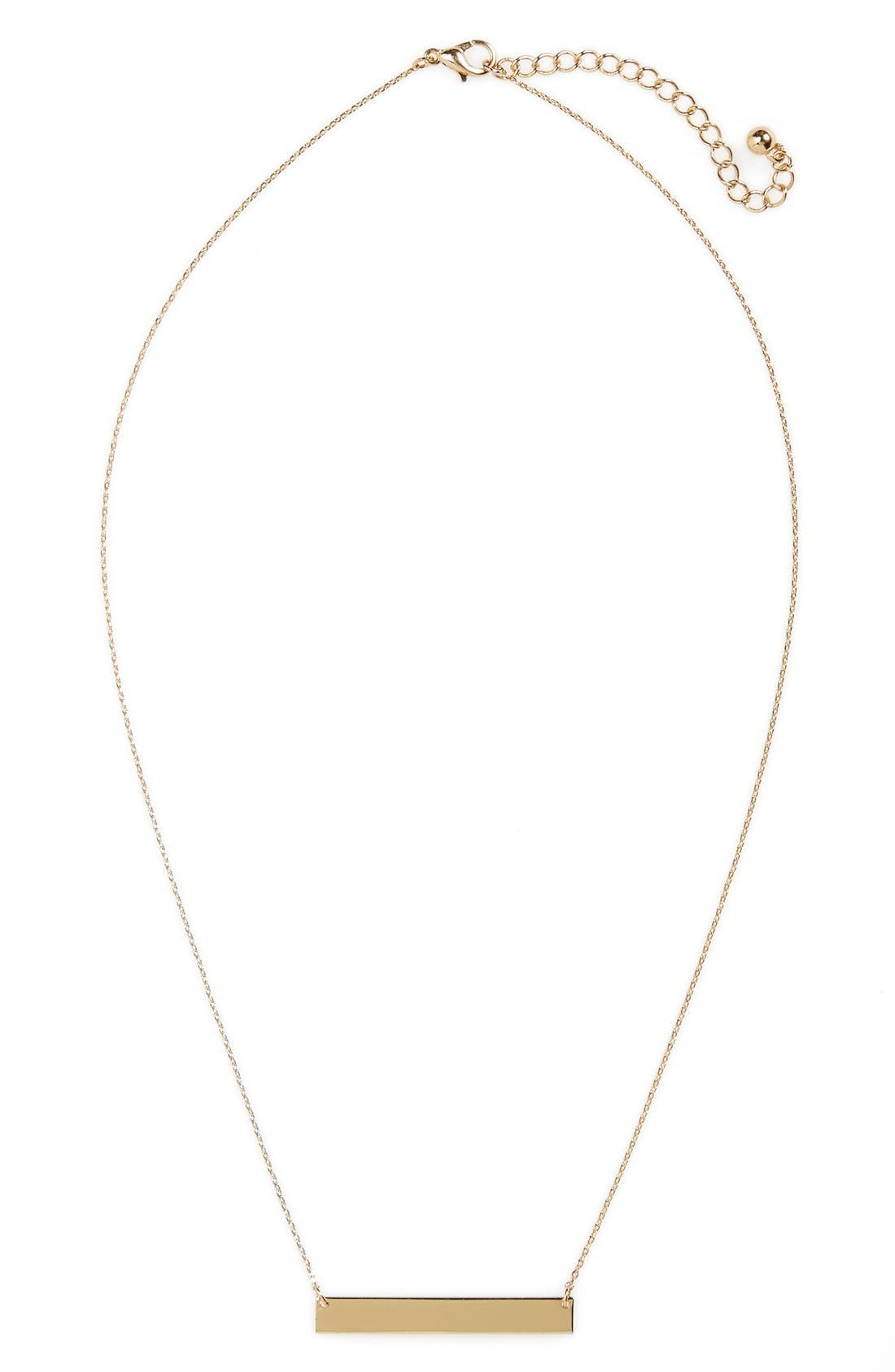 Bar Charm Necklace,                         Main,                         color, Gold