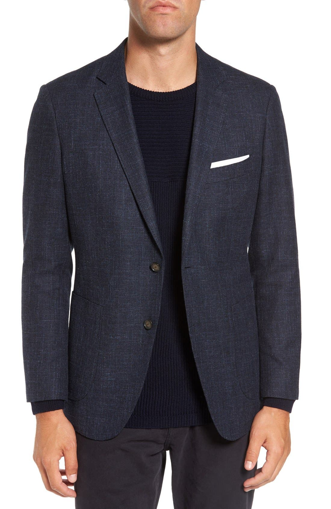 'Heaton' Sports Fit Cotton & Wool Sport Coat,                         Main,                         color, Navy
