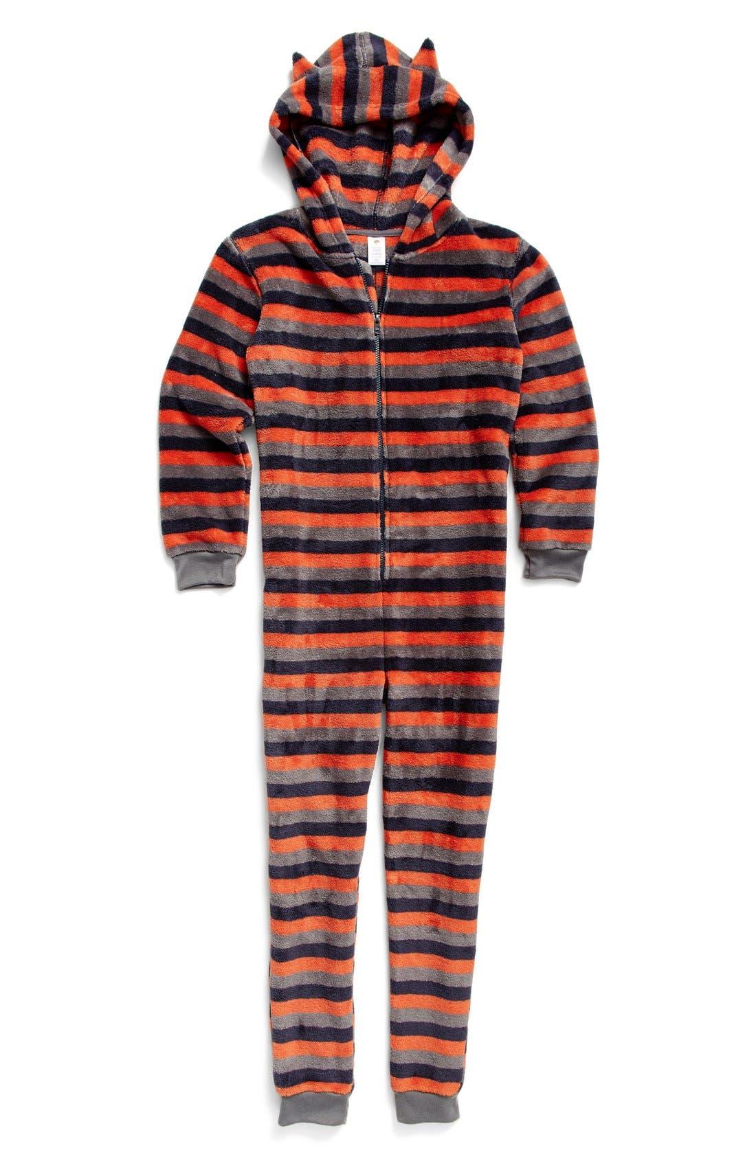 Print Fleece One-Piece Pajamas,                             Main thumbnail 1, color,                             Orange Chili- Navy Stripe