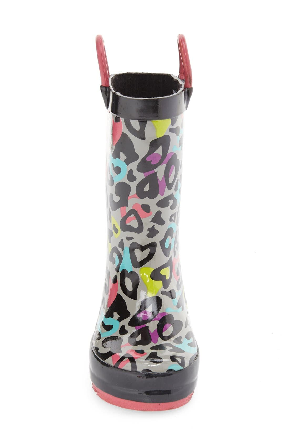 'Groovy Leopard' Rain Boot,                             Alternate thumbnail 3, color,                             Black