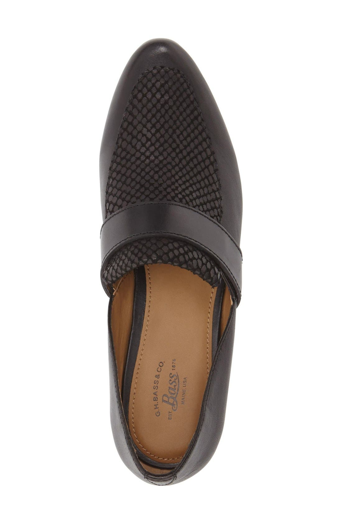 'Hilary' Leather Loafer,                             Alternate thumbnail 3, color,                             Black Leather