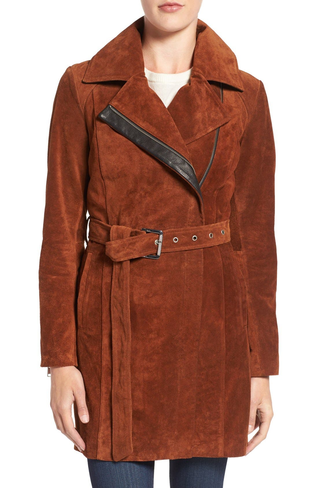 Alternate Image 1 Selected - Andrew Marc 'Sienna 33' Suede Belted Trench Coat