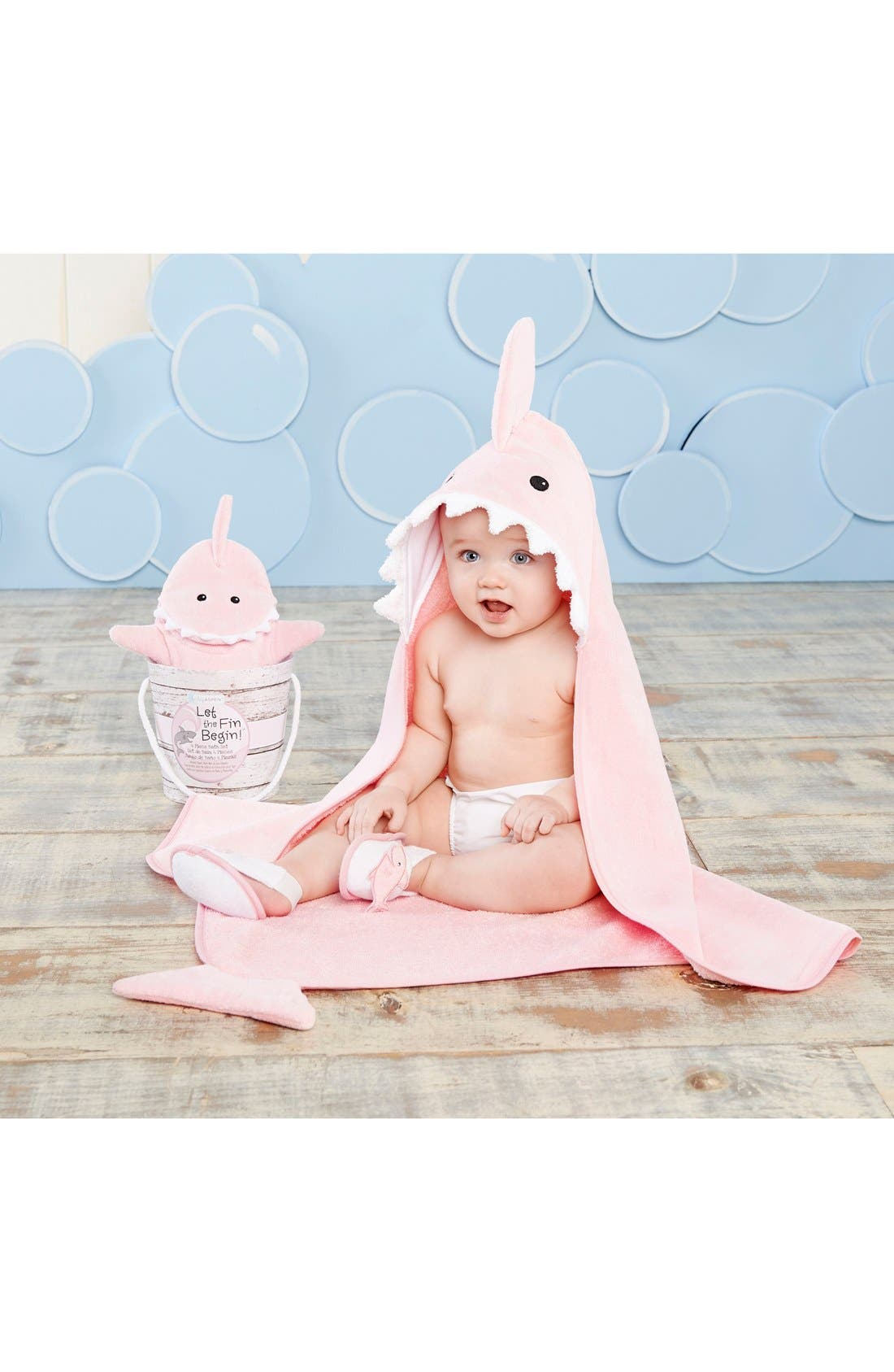Alternate Image 4  - Baby Aspen 'Let the Fin Begin' Hooded Terry Robe, Bath Mitt & Slippers Set (Baby)