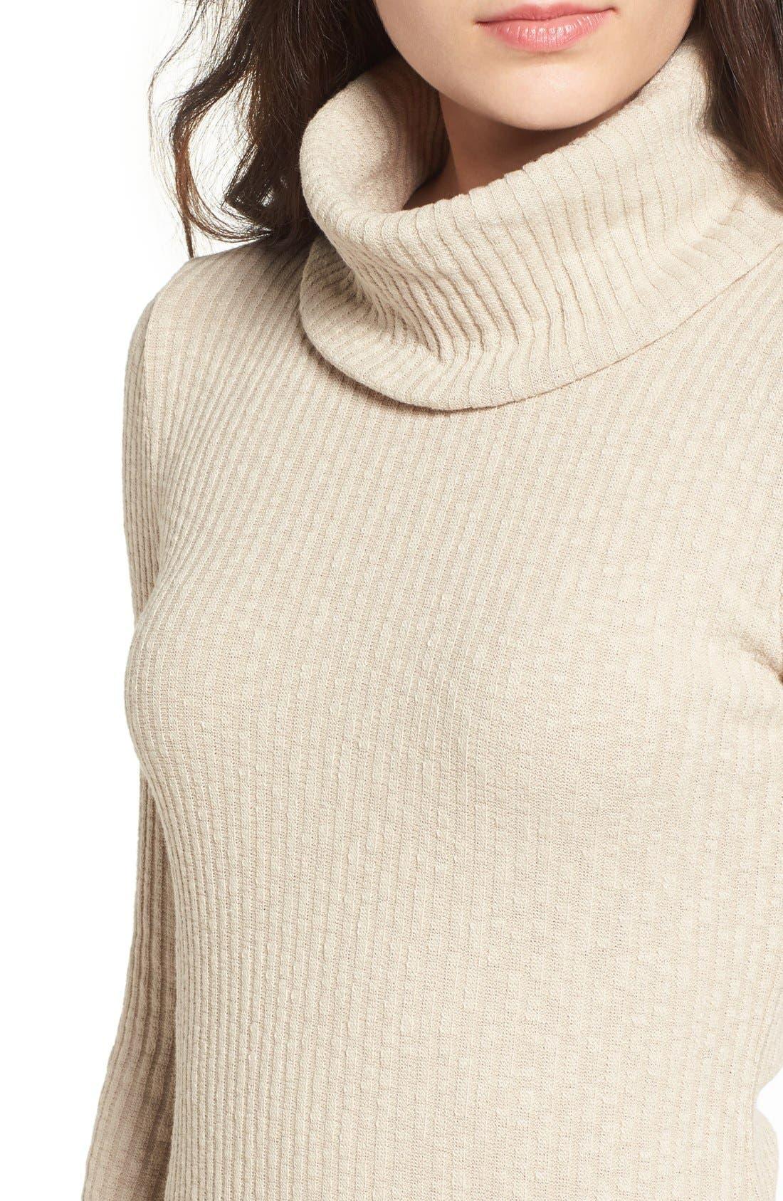 Alternate Image 4  - Lush Turtleneck Body-Con Sweater Dress