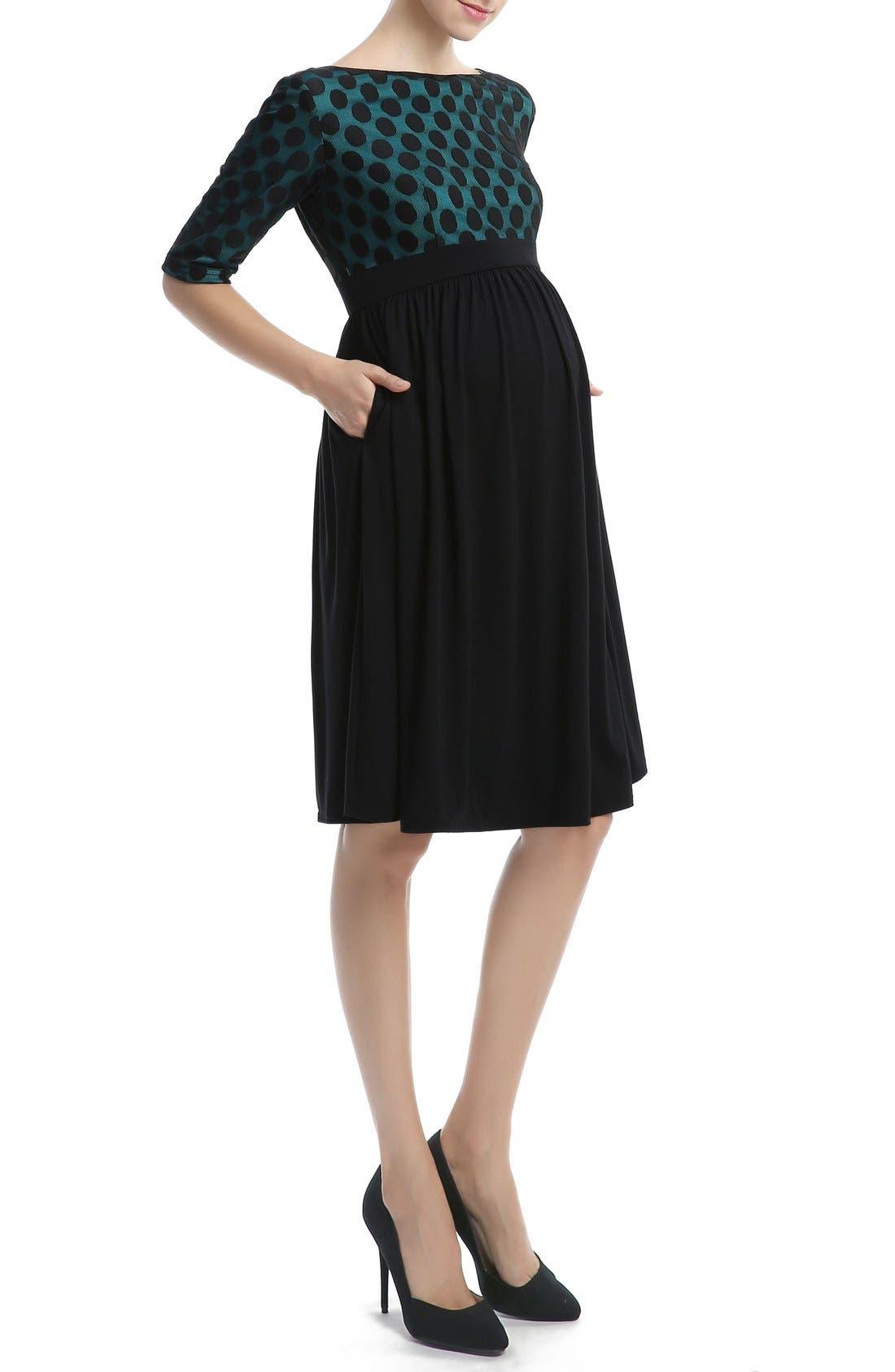 'Charlie' Maternity Dress,                             Alternate thumbnail 3, color,                             Black/ Teal