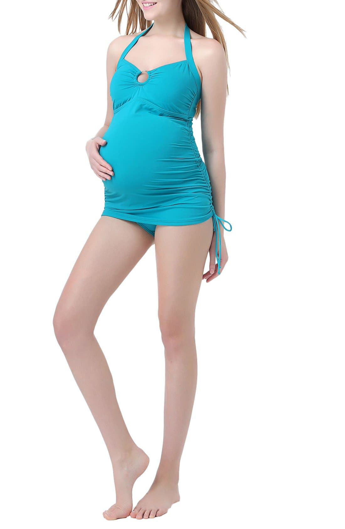 'Chloe' Maternity Two-Piece Tankini Swimsuit,                         Main,                         color, Teal