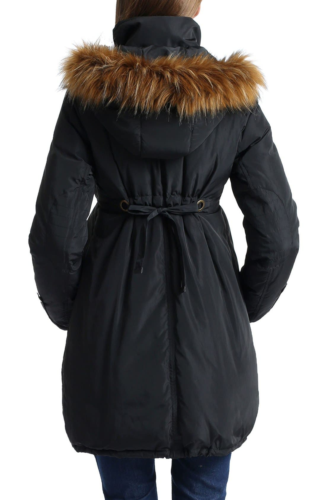 Lizzy Water Resistant Down Maternity Parka,                             Alternate thumbnail 2, color,                             Black