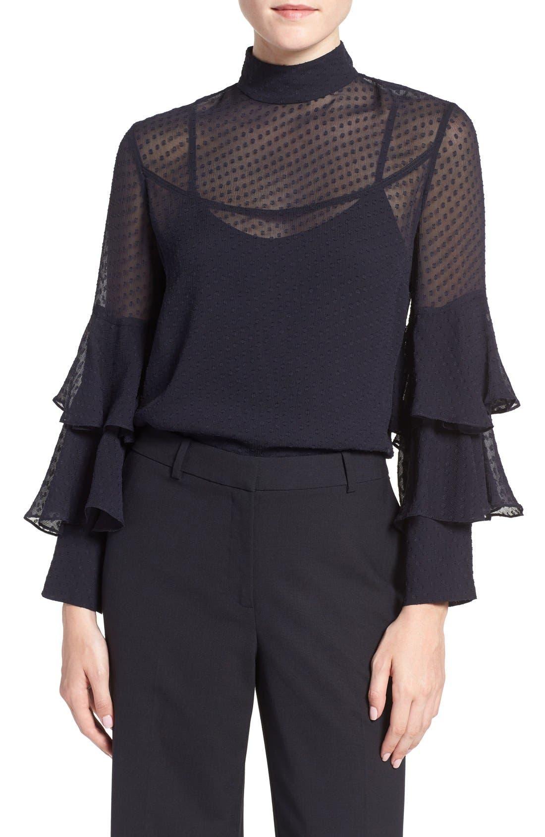 Main Image - Olivia Palermo + Chelsea28 Tiered Sleeve Silk Top