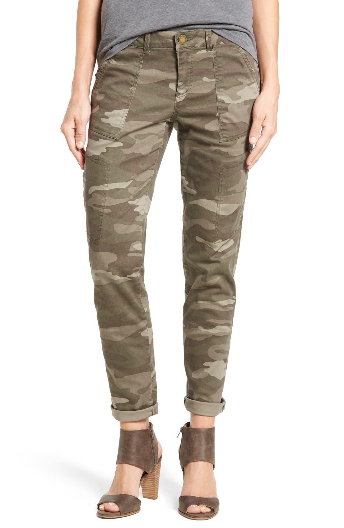 Skinny Cargo Pants,                         Main,                         color, Mushroom