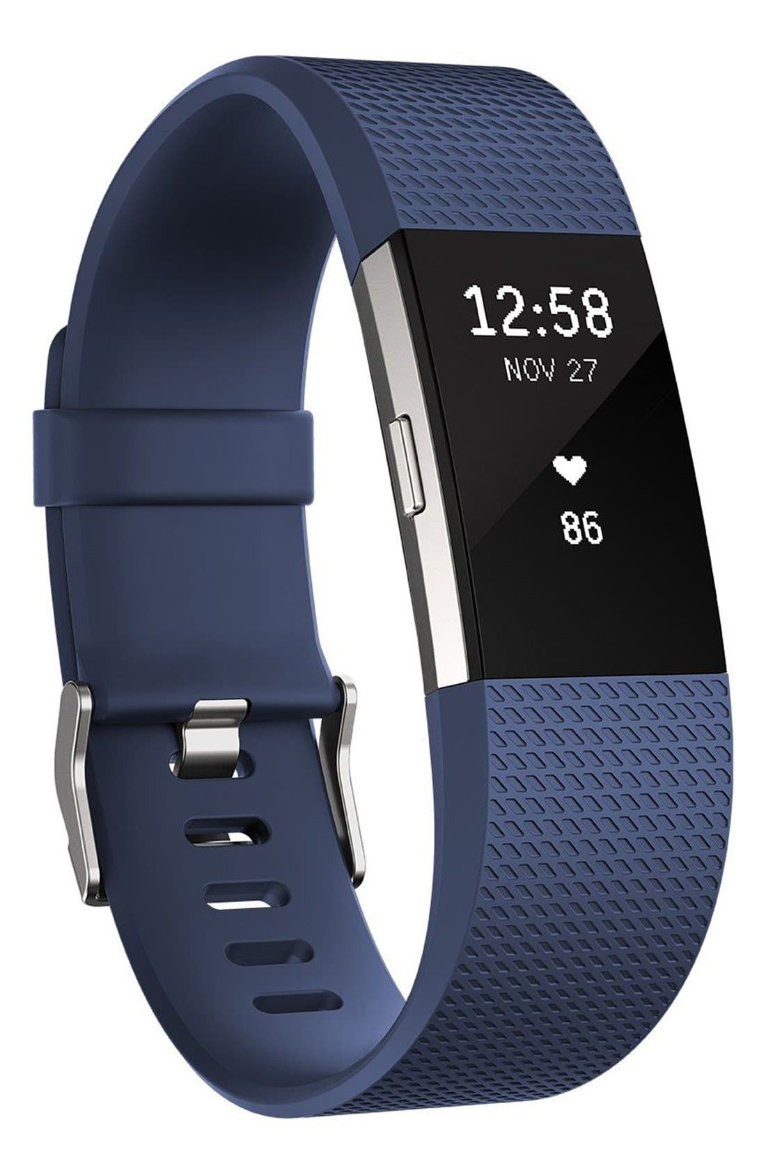 'Charge 2' Wireless Activity & Heart Rate Tracker,                             Main thumbnail 1, color,                             Blue