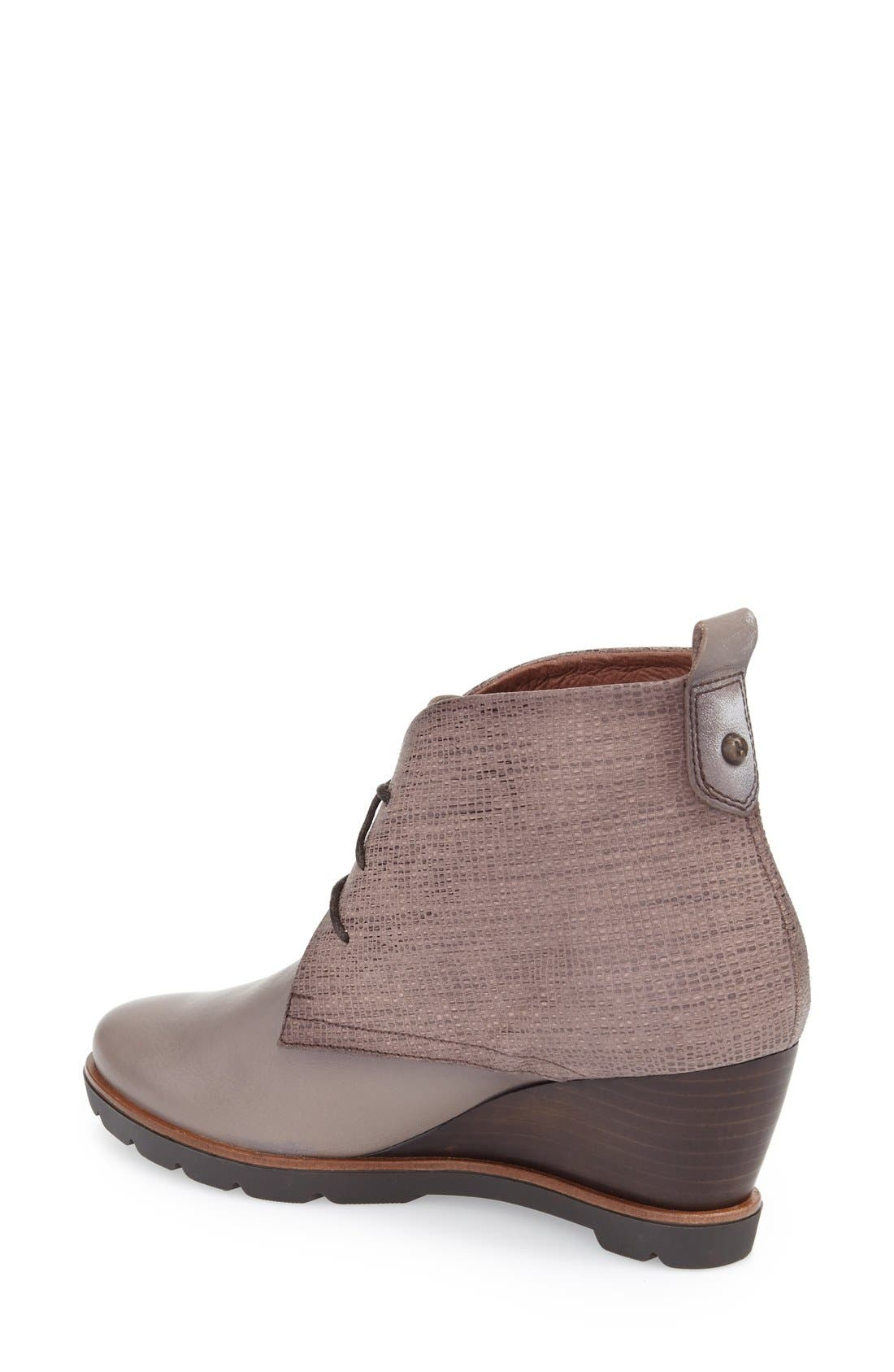 'Harmonie' Lace-Up Wedge Bootie,                             Alternate thumbnail 2, color,                             Brown Leather