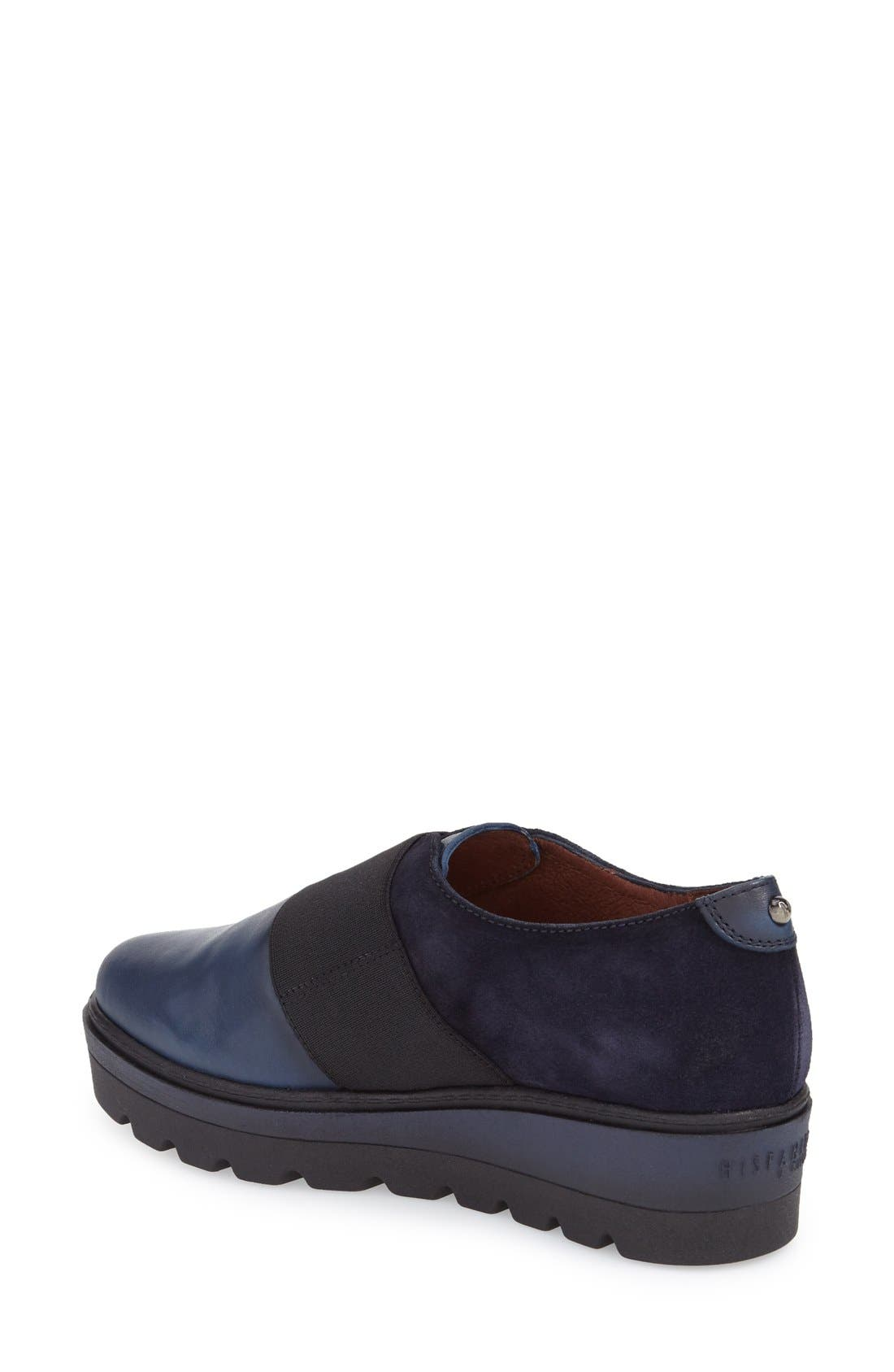 'Ardia' Slip-On Platform Flat,                             Alternate thumbnail 2, color,                             Soho Blue Leather