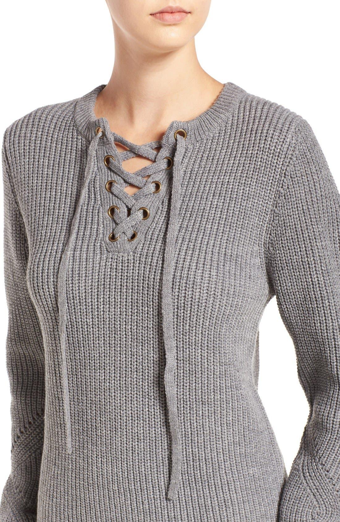 Alternate Image 4  - Elodie Rib Knit Lace-Up Sweater