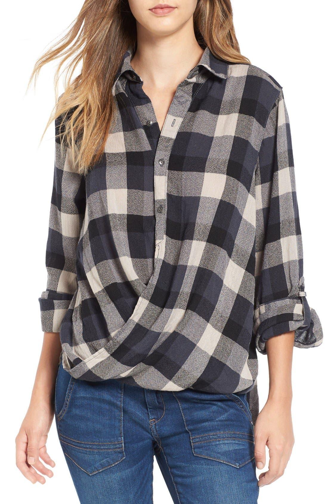 Main Image - BLANKNYC Check Wrap Front Shirt