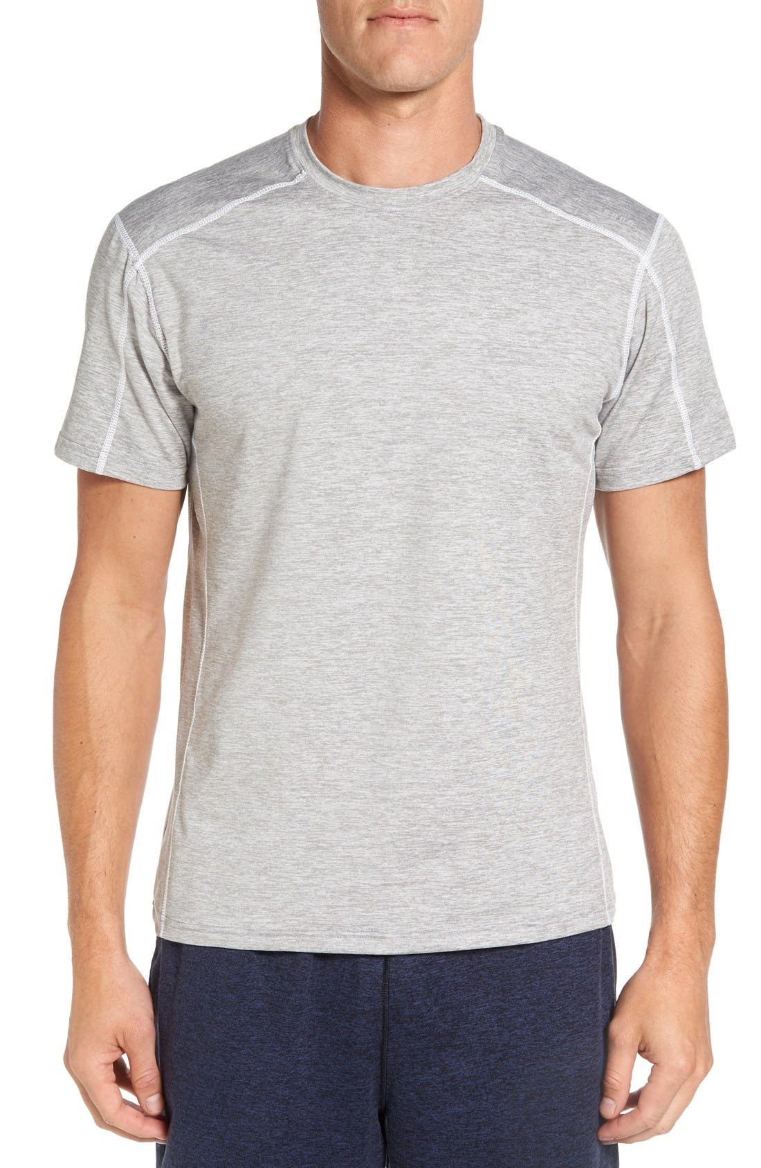 'Cooldown' Moisture Wicking Training T-Shirt,                         Main,                         color, Heather Cloud/ White