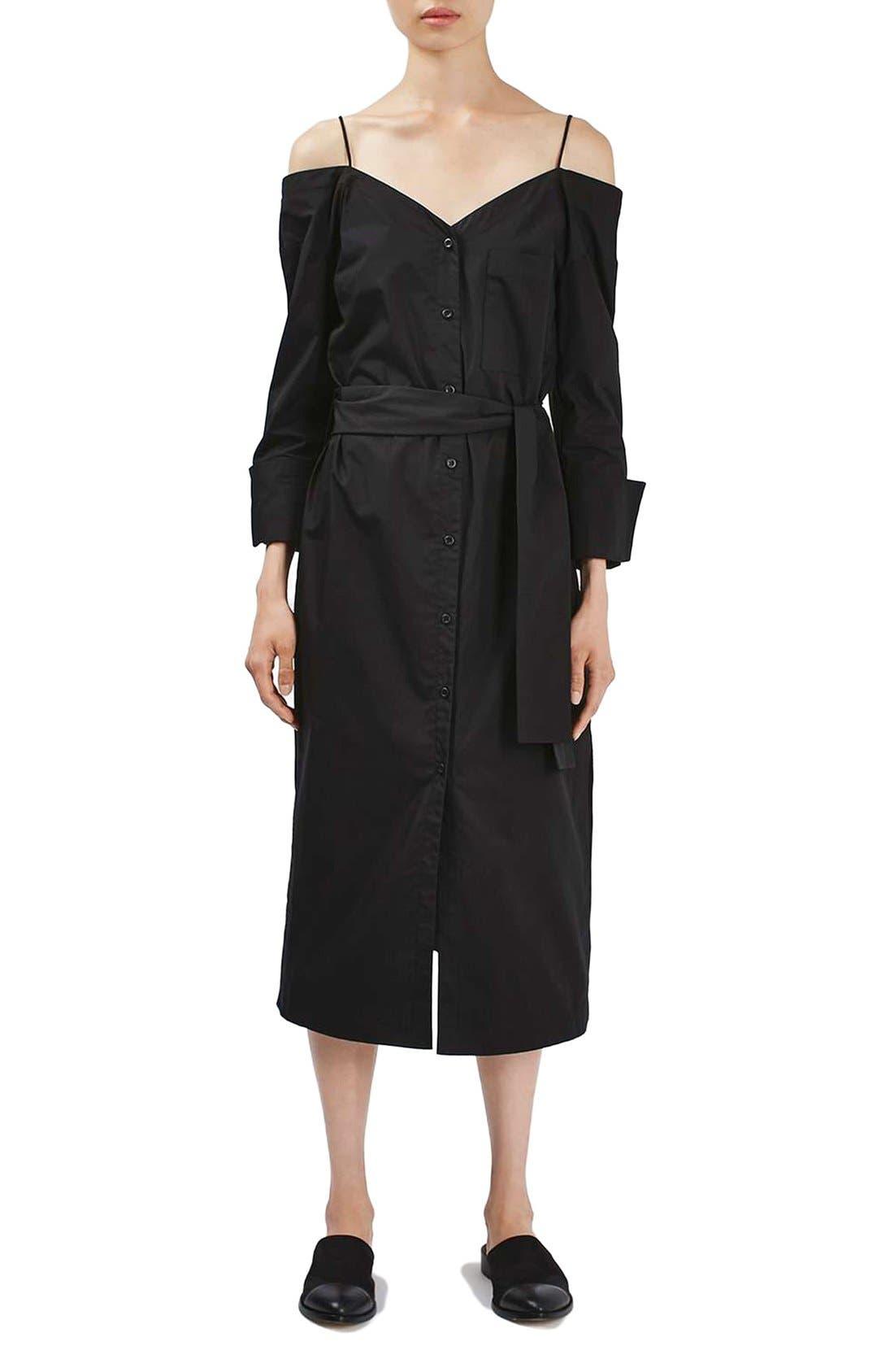 black off-the-shoulder shirtdress