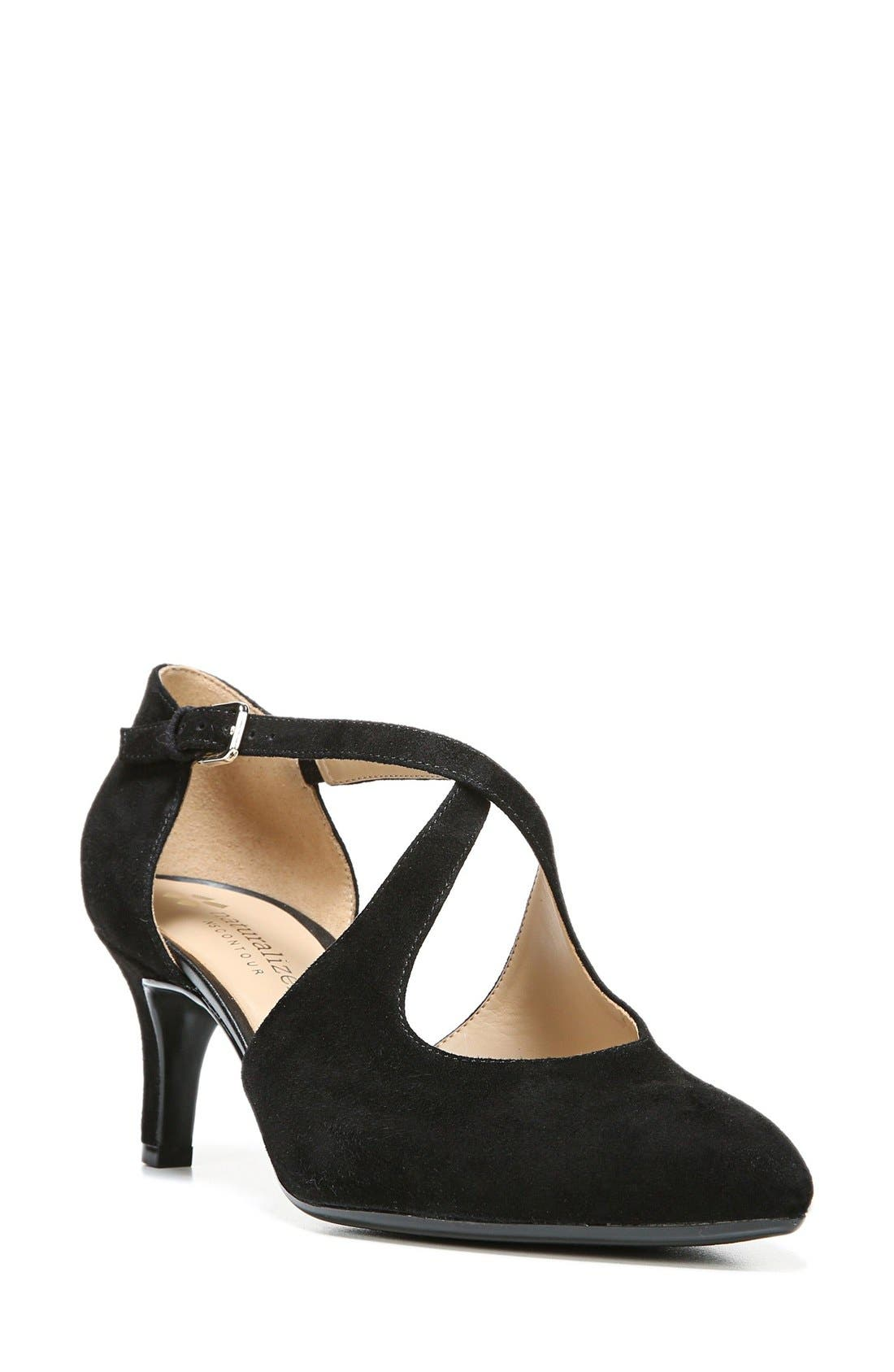 'Okira' Crisscross Pump,                         Main,                         color, Black Suede